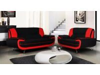 【FAUX LEATHER EASY CLEAN 】BRAND NEW 3 AND 2 SEATER CAROL LEATHER SOFA SUITE BLACK, RED, BROWN