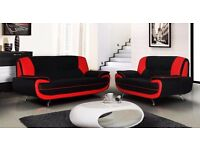 BRAND NEW !! RED AND BLACK FOX LEATHER SOFA AVAILABLE IN 3 AND 2 SEATER