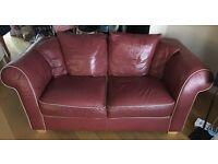 Burgundy leather 3 piece suite
