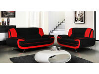 PALERMO leather SOFA SUITE 3 + 2 SOFA BLACK WHITE RED BROWN CHEAPEST IN UK