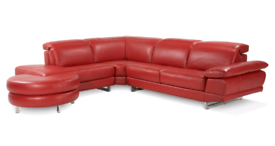 Milano Red Leather Sofa Dfs