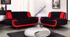 💖💖FAUX LEATHER SOFA💖 CAROL 3+2 LEATHER SEATER SOFA SUITE IN BLACK, RED, BROWN CORNER SEATER