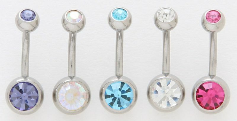 5 Double Gem CZ Belly Button Rings Navel Body Jewelry