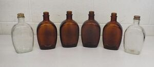 Lot of 6 Vintage Log Cabin Syrup Bicentennial Bottles 1776-1976 Fast Shipping
