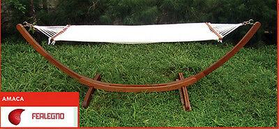AMACA DOPPIA CON SUPPORTO IN LEGNO BALAU FINITURA OLIO 320X100X100H ART. 30518