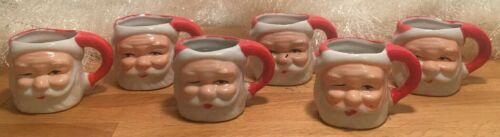 Lot of 6 Collector Santa Mugs Vintage Christmas 3 Winking  Japan  Small / Mini