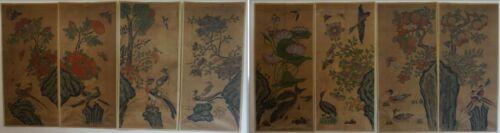 Very Rare Museum Quality Rare Korean Joseon Dynasty 8Panel MinHwa Folk Paintings