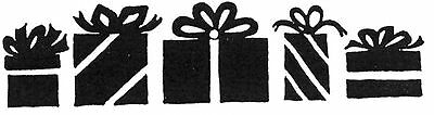 Unmounted Rubber Stamp, Christmas Cards, Stamps, Seasonal, Bold Presents Border ()