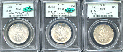 Click now to see the BUY IT NOW Price! 1937 50C TEXAS MS65 PCGS ONLY 526 IN HIGHER GRADE MINTAGE 6,571 SILVER COMME////
