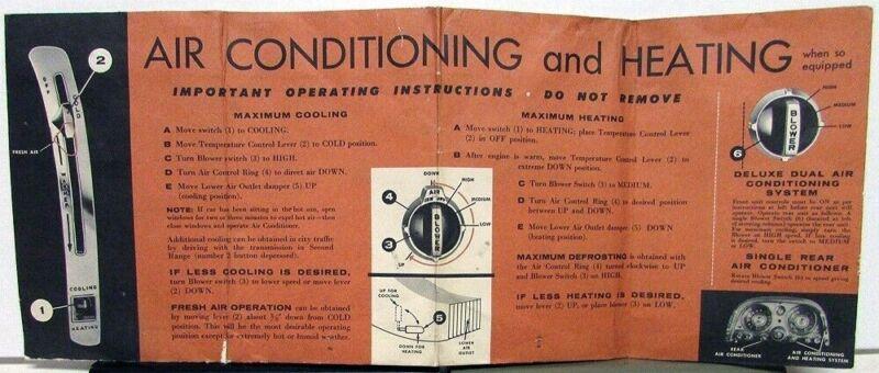 1958 Chrysler Sun Visor Cover A/C Heat Operating Instructions Original
