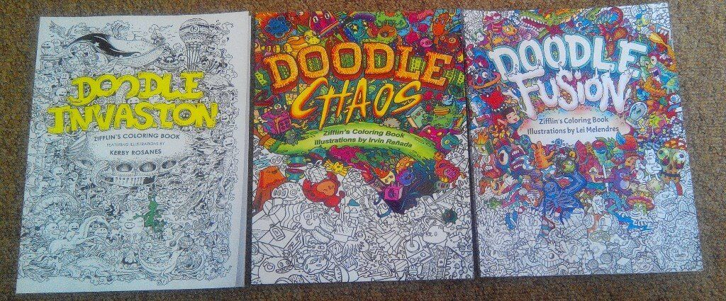 3x Adult Colouring Books By Kerby Rosanes Doodle Invasion Chaos Fusion