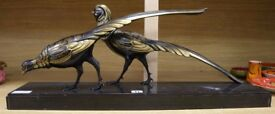 A French Art Deco model of pheasants on marble plinth circa 1930s