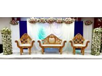 Asian wedding stages hire, mendhi stages, house lighting, chair covers etc