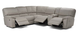 Clara Corner Seater Reclining Sofa in Beige Top Grain Italian Leather Free Home Setup & Delivery