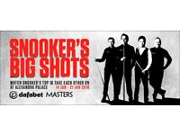 SNOOKER THE MASTERS Sunday, 14 Jan 2018 at 13:00 2x ALL DAY TICKETS AND PROGRAME