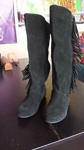 Black Steve Madden Boots, new with tags, Suede with Fringe