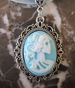 Silver Gothic Lady Skull Cameo Baby Blue Pendant / Nice Chain