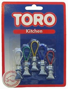 Set of 5 Tea Towel / Towel Clips Hangers Kitchen Clips Assorted Colours