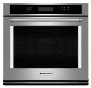 "KITCHENAID NEW KOSE507ESS 27"" SINGLE, 4.3 CU FT., TRUE CONVECTION,  SELF CLEAN, FIT SYSTEM, SINGLE WALL OVEN(BD-1542)"