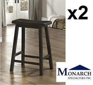 2 NEW MS SADDLE SEAT BARSTOOLS - 108986358 - MONARCH SPECIALTIES CAPPUCCINO