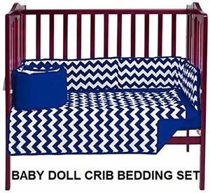 NEW BABYDOLL CRIB BEDDING SET   CHEVRON DOT PORT-A-CRIB BEDDING SET - NAVY BABY NURSERY CRIB BLANKET SHEETS 98658415