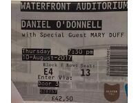 Daniel O'Donnell, Waterfront Hall, 2 tickets
