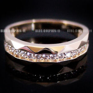 Genuine Solid 9K Yellow Gold Engagement Wedding Mens Ring Band Simulated Diamond