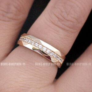 Solid Yellow Gold Engagement Wedding Diamond Edge rings