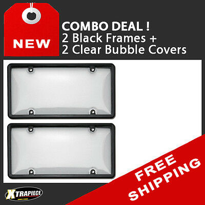 Combo Deal - 2 X License Plate Black Frame / Clear Bubble Cover