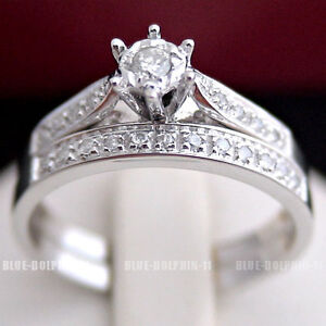 Real Genuine Natural Diamonds Solid 9ct White Gold Engagement Wedding Rings Set