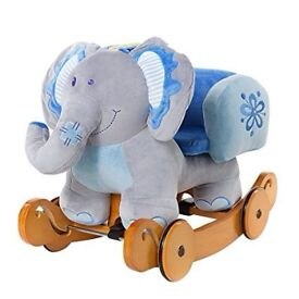 Brand New Labebe Baby Rocking Horse Wooden, 2 In 1 Plush Rocking Horse with Wheels