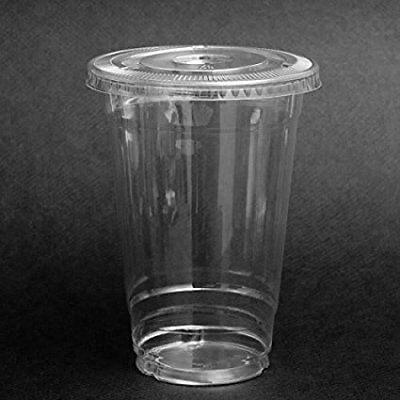 Plastic Coffee Cups With Lids (20 oz Plastic CLEAR Cups with FLAT Lids for Iced Coffee Bubble Tea,)