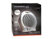 DAEWOO 2000W ELECTRIC FAN HEATER, BRAND NEW AND BOXED WITH MANUFACTURER'S WARRANTY