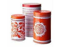 VINTERKUL Tin with Lid, Set of 3, Assorted patterns, Red, Suitable for coffee, tea and other dry