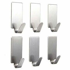 Steel-Self-Adhesive-Hooks-1-Kg-Load-Capacity-6-Pieces-Set