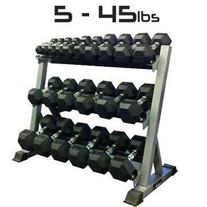 5 - 45lbs Rubber Dumbbell Set with Commercial 3-Tier Dumbbell Rack - Brand New