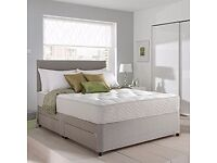 King size Grey Suede Divan Bed +Mattress