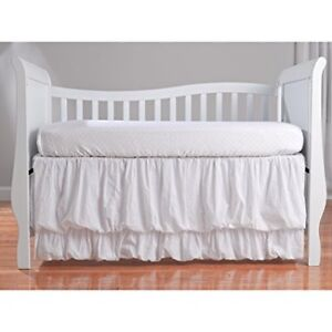 New, Classic Swiss Dot White Crib sheet set w adj dust ruffle