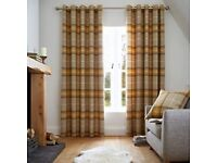 Heritage brushed cotton fully lined eyelet curtains by Catherine lansfield- Ochre