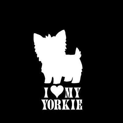 I Heart Love My Yorkie Dog Pet Vinyl Car Window Decal