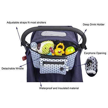 Universal stroller organizer, lightweight, detachable wristl