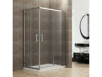 1200 x 700 mm Sliding Corner Entry Shower Enclosure Door Cubicle with Tray