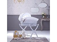 Izziwotnot Moses Basket and stand, Soft Grey plus 100% cotton bed sheet