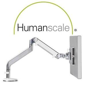 NEW HUMANSCALE M2 MONITOR ARM BOLT-THROUGH MOUNT - POLISHED ALUMINUM/WHITE COMPUTER 99386326