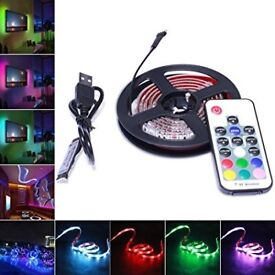 USB MULTICOLOURED/WHITE 5 METER STRIP LIGHTS WITH REMOTE