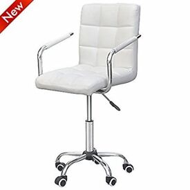 White leather office swivel chair, like new