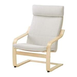 Ikea POANG Armchair, Birch Veneer with Finnsta White Cushion