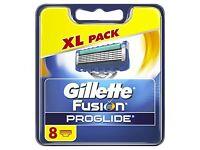 Gillette Fusion Proglide Razor Blades 9 x 8 Blade Packs (Brand New)