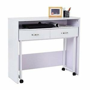2pc Computer Desk Storage Writing Rolling Table Workstation Home Office