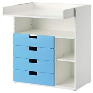 IKEA changing table/desk with 4 drawers in blue